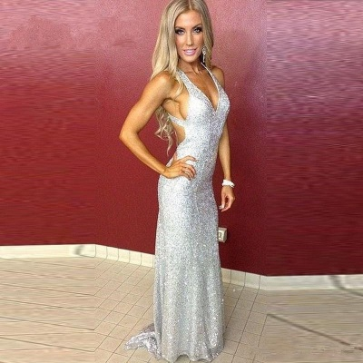 Sexy Silver Sequins Prom Dresses V-Neck Backless Mermaid Evening Gowns_4