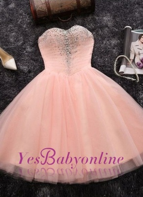 Short Crystals A-line Pink Sweetheart-Neck Elegant Homecoming Dresses_1