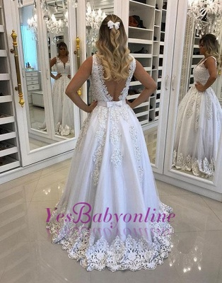Pearls A-line White Bow Appliques V-neck Evening Dress_1
