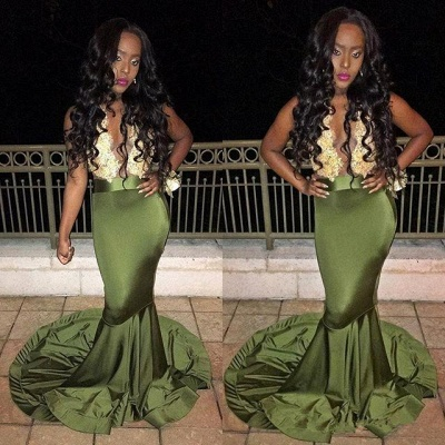 2019 Mermaid Prom Dresses Gold Lace Deep V-Neck Sheer Open Back Evening Gowns_3