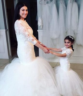 Lovely Short Sleeves Mermaid Children Dresses   Lace Mermaid Floor Length Flower Girl Dress BA2193_3