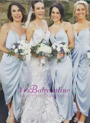 Spaghettis-Straps Sky-Blue Ruffles Sheath Slit Bridesmaid Dresses_1