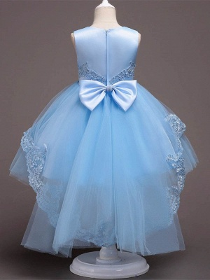 Cute A-Line Tulle Appliques Beading Tea Length Flower Girl Dress_3