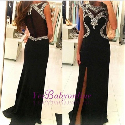 2019 Black Sheath Prom Dresses Crystals Side Slit Sexy Evening Gowns_1