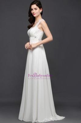 Long Ivory Elegant Applique In-Stock Strap  Evening Dresses_4