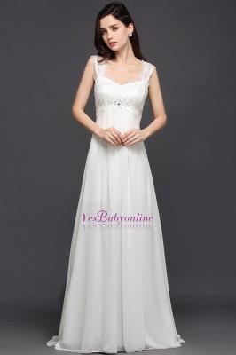 Long Ivory Elegant Applique In-Stock Strap  Evening Dresses_3