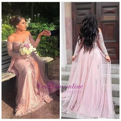 Front Mermaid Appliques Off-the-shoulder Split Lace Long-Sleeve Elegant Evening Dress_1