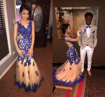 V-neck Sleeveless Mermaid Prom Dresses   Appliques  Long Evening Gowns_1