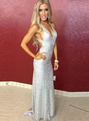 Sexy Silver Sequins Prom Dresses V-Neck Backless Mermaid Evening Gowns_2