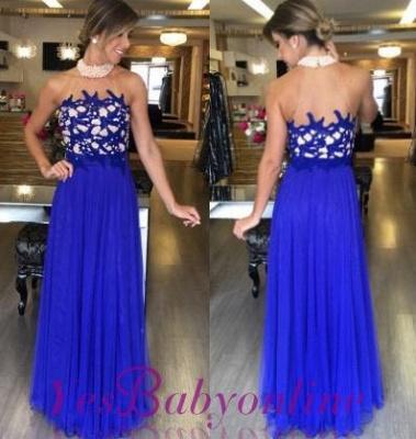 Halter  Gorgeous High-Neck Royal-Blue Beading Long Prom Dresses_1