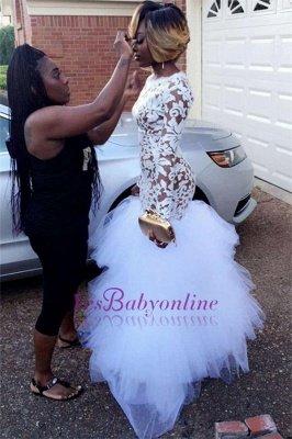 White Mermaid Sheer Prom Dresses Long Sleeves Tiers Tulle Skirt Formal Gowns_1