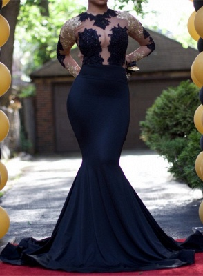 Gold and Black Prom Dresses Long Sleeves Sheer Lace Appliques Mermaid Sexy Evening Gowns_2