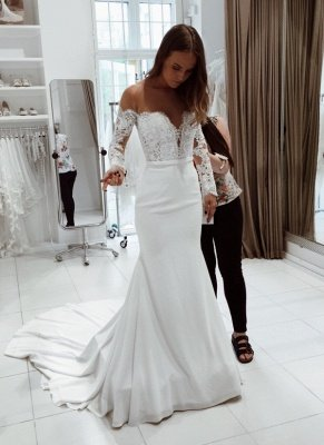Glitter White Mermaid Wedding Dresses | Off-the-Shoulder Bridal Gowns_1
