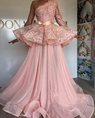 Glamorous A-Line Prom Dresses | Pink Lace Long Sleeve Evening Gowns_1
