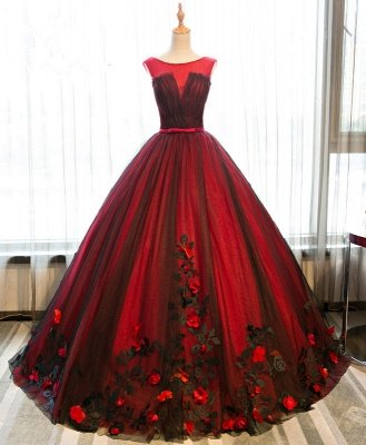 Elegant Crew Tulle Flowers Puffy Wedding Dresses | Appliques Bridal Gowns With Bows Sashes_2