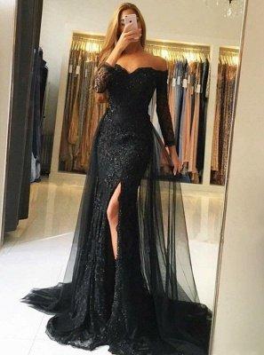 Off-the-Shoulder Side-Slit Sexy Overskirt Black  Evening Gowns_3