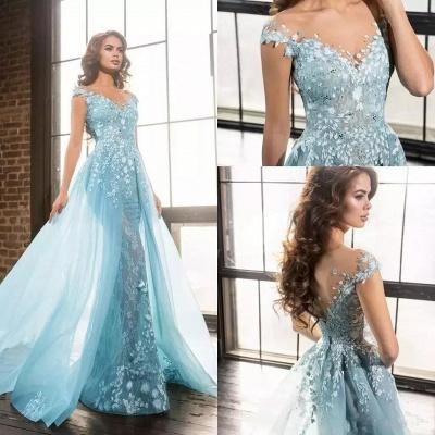 Elegant Straps Mermaid Evening Dresses | Sleeveless Appliques Prom Dresses_3