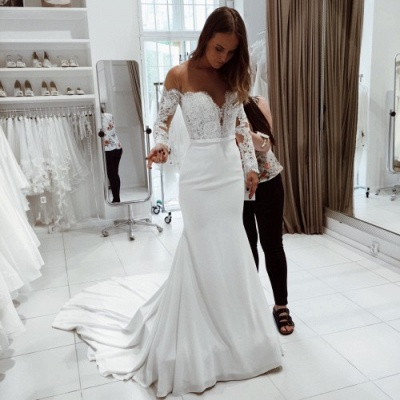 Glitter White Mermaid Wedding Dresses | Off-the-Shoulder Bridal Gowns_3