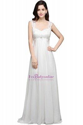 Long Ivory Elegant Applique In-Stock Strap  Evening Dresses_1