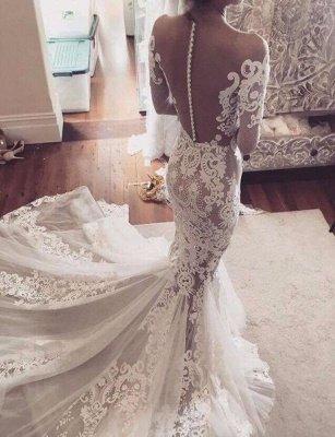 Long Sleeves Sexy Sheer Lace Appliques Mermaid Wedding Dresses_3