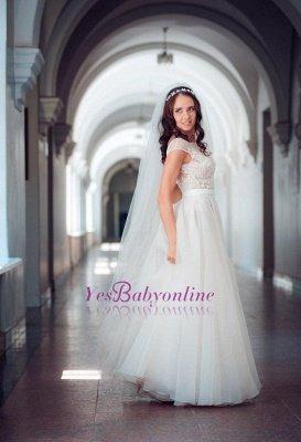 Cap-Sleeve Lace Tulle Split Glamorous Sweep Train Wedding Dress_1