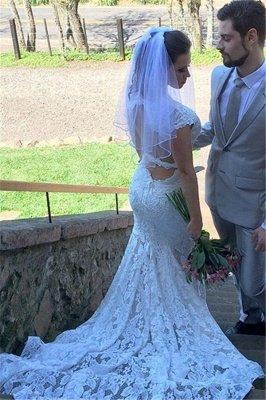 Open-Back Sleeveless V-Neck Glamorous Mermaid Lace Wedding Dress_3