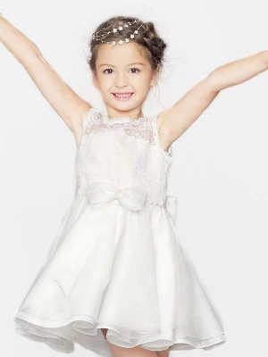 Cute A-Line Organza Satin Lace Scoop Short Flower Girl Dress with Bowknot_2