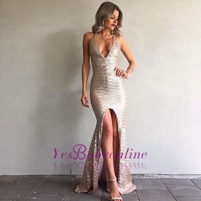 Mermaid Sequined Backless Sexy Front-Split V-Neck Prom Dress_1