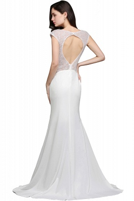Mermaid Long Sleeve Cap Ivory Chic Sheer Jewel Evening Dresses_6