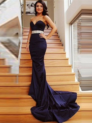 2019 Mermaid Prom Dresses Sweetheart Neck Beading Long Evening Gowns_2