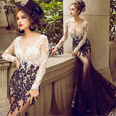 Long Sleeves Mermaid Prom Dresses | Lace Appliques Sheer Evening Gowns_3