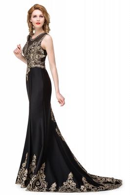 Appliques Scoop Mermaid Black Sleeveless New Prom Dress_6