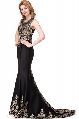 Appliques Scoop Mermaid Black Sleeveless New Prom Dress_5
