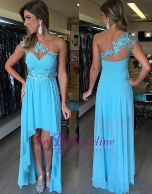 Applique One-Shoulder  Sleeveless Empire Hi-Lo Prom Dresses_1