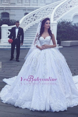 Ball-Gown Sweetheart Sleevesless Lace Flowers Glamorous Wedding Dress_2