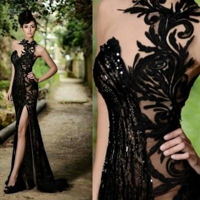 High Neck Black Mermaid Prom Dresses High Slit Applique Bling Bling Evening Gowns_3