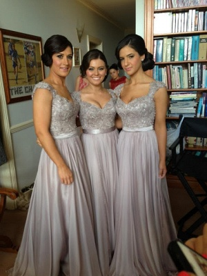 Silver A-line Chiffon Bridesmaid Dresses | Lace Sequins Beaded Cap Sleeves Bridesmaid Dress_1