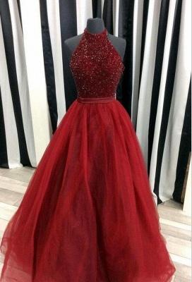 A-line Beads Tulle Sleeveless Modest Halter Prom Dress_3