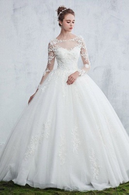 Jewel Sexy Lace Long Sleeves White Ball Gown Wedding Dresses_2