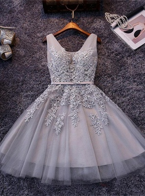 Elegant Silver Homecoming Dresses Lace Beaded  Puffy Hoco Dress_1