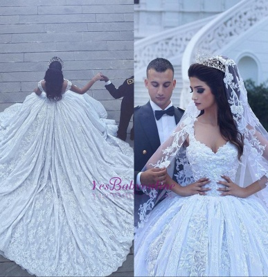 Ball-Gown Sweetheart Sleevesless Lace Flowers Glamorous Wedding Dress_1