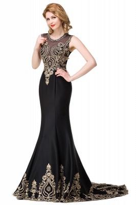 Appliques Scoop Mermaid Black Sleeveless New Prom Dress_4