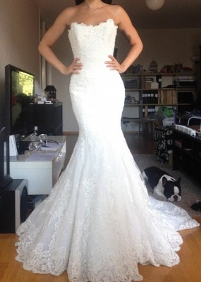 Simple Strapless lace Buttons Back Mermaid Wedding Dresses_2
