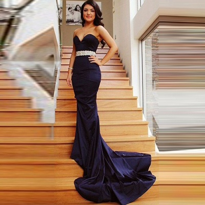 2019 Mermaid Prom Dresses Sweetheart Neck Beading Long Evening Gowns_4