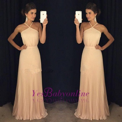 Gorgeous Ruched Long Prom Dresses Halter Neck Elegant Evening Gowns_1