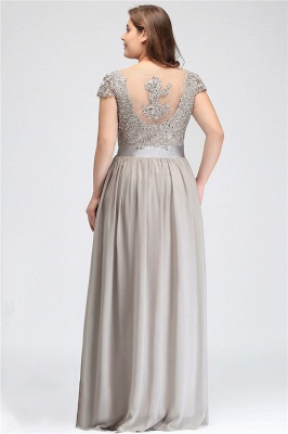 Silver A-line Chiffon Bridesmaid Dresses | Lace Sequins Beaded Cap Sleeves Bridesmaid Dress_3