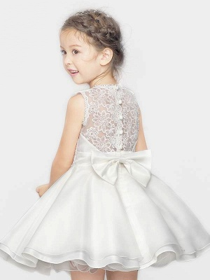 Cute A-Line Organza Satin Lace Scoop Short Flower Girl Dress with Bowknot_1