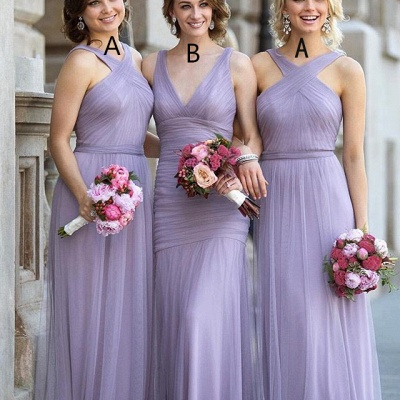 Lavender Bridesmaid Dresses Halter Neck Tulle Long Elegant Ruched Maid of the Honor Dress_3