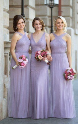 Lavender Bridesmaid Dresses Halter Neck Tulle Long Elegant Ruched Maid of the Honor Dress_2