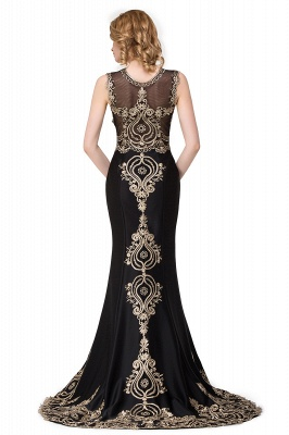 Appliques Scoop Mermaid Black Sleeveless New Prom Dress_3